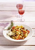 Pappardelle with chanterelle mushrooms, peppers and rosemary