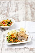 Chicken Kiev with vegetables, Ukraine