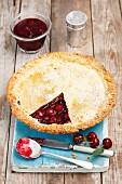 Cherry and redcurrant pie