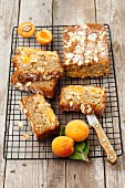 Slices of almond cake with apricots on a wire rack