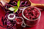 A jar of red cabbage with lingonberries