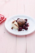 Coulant au chocolat with cherries and vanilla ice cream