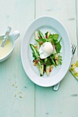Asparagus salad with poached egg