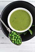 Pea soup with mint (seen from above)