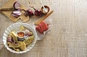 Pelmeni (Siberian ravioli) with ingredients