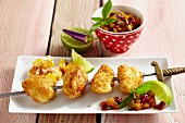 Chicken skewers with cranberry salsa