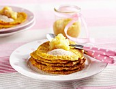 Sweet carrot pancakes with apple compote