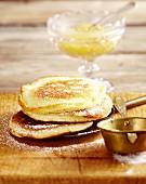 Buttermilk pancakes and apple sauce