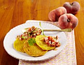 Chickpea pancakes with vineyard peach salsa