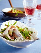 Soused herring with green beans and fried potatoes