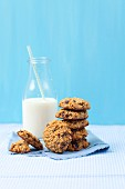 Oat cookies with lingon berries and nuts and milk