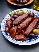 Chorizo with olive tapas (Spain)