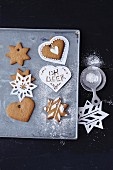 Stencils for icing sugar on gingerbread biscuits