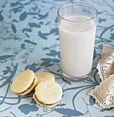 Grain milk with biscuits