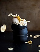 Vegan banana ice cream with banana chips