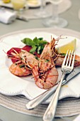 Grilled king prawns on a plate