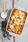 Fusilli bake with a salsiccia and tomato sauce and hard-boiled eggs