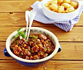 Pork goulash with chestnuts