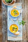 Butternut squash and mango soup with crispbread dumplings