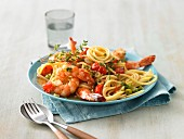 Spaghetti with cherry tomatoes and prawns