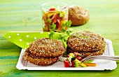Fried sesame seed rolls with vegetable salad