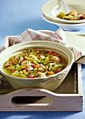 Bean soup with sausage dumplings