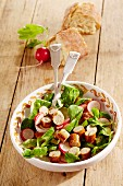 Franconian sausage salad with lamb's lettuce