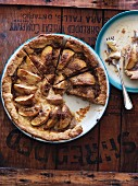 Rustic apple pie, sliced