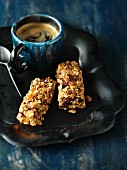 Homemade muesli bars and coffee