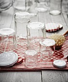 Sterilised jam jars on a tea towel