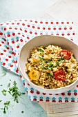 Fregola (Sardinian pasta) with roasted tomatoes