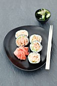 Sushi with grilled salmon and pickled ginger