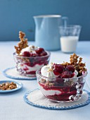 Cream cheese with cherries and almond brittle