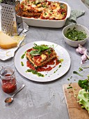 Vegetable lasagne with a lentil bolognese
