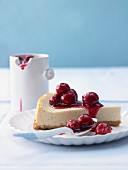 American cheesecake with cherries