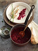 Beetroot risotto with horseradish