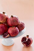 Pomegranates on a cake stand