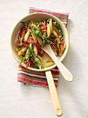 Potato orzo pasta with rocket and tomato pepper