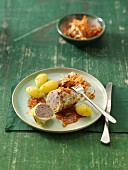 Cabbage roulade with a minced meat and sausage filling