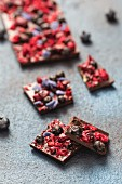 Homemade chocolate with freeze-dried fruits