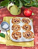 Apple strudel muffins in a muffin tin