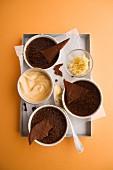 Chocolate crème brûlée with apricot sorbet