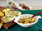 Cod fillets with a mussel ragout