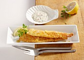 Plaice fillets with an almond crust