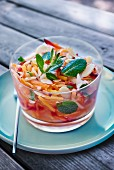 Carrot salad with lemon, mint and almonds
