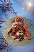 Stuffed turkey roulade with langoustine and mushrooms