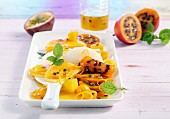Exotic fruit salad with an orange and honey dressing