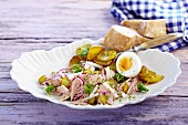 Bavarian sausage salad with fried potatoes