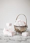 Vanilla marshmallows in a silver dish