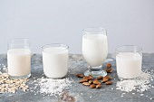 Various types of vegan milks in glasses with their ingredients (oat milk, coconut milk, almond milk and rice milk)